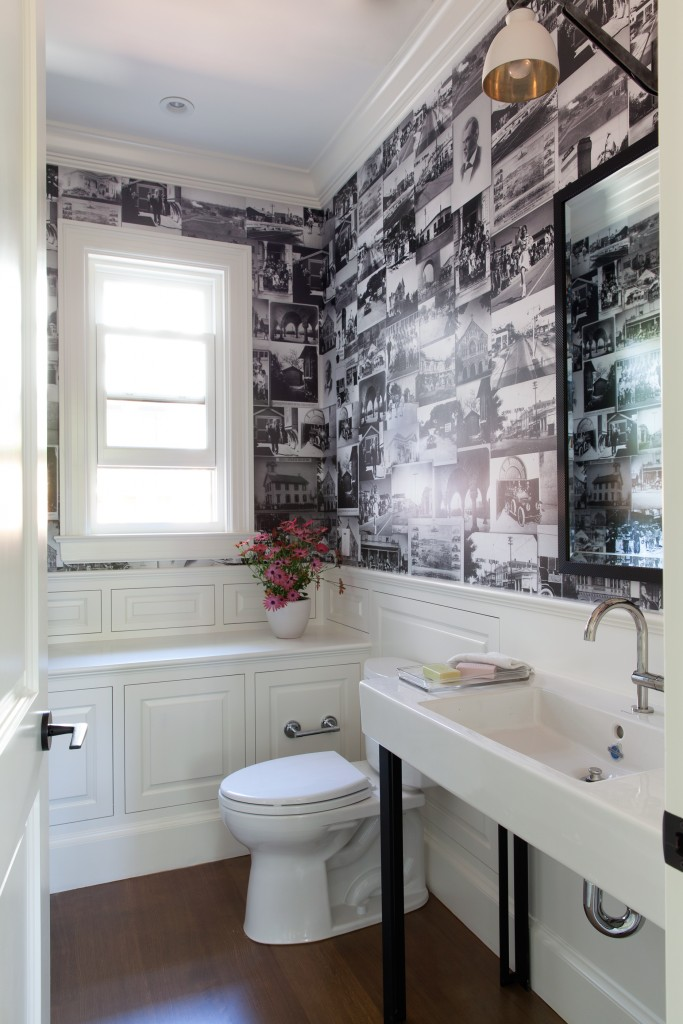 Powder room with custom vintage photo wallpaper