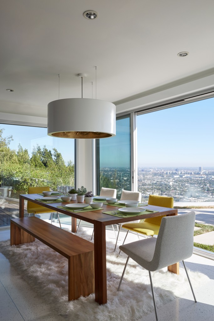 Dining room of Hollywood Hills view home